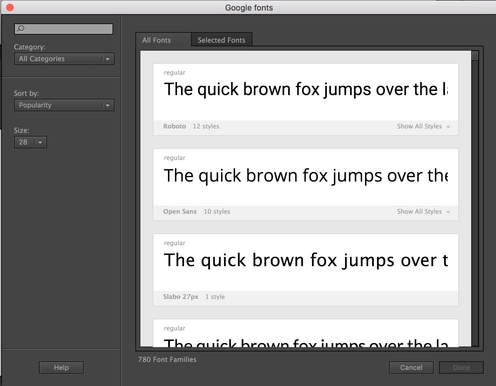 Google fonts in Adobe Animate CC – Faber04